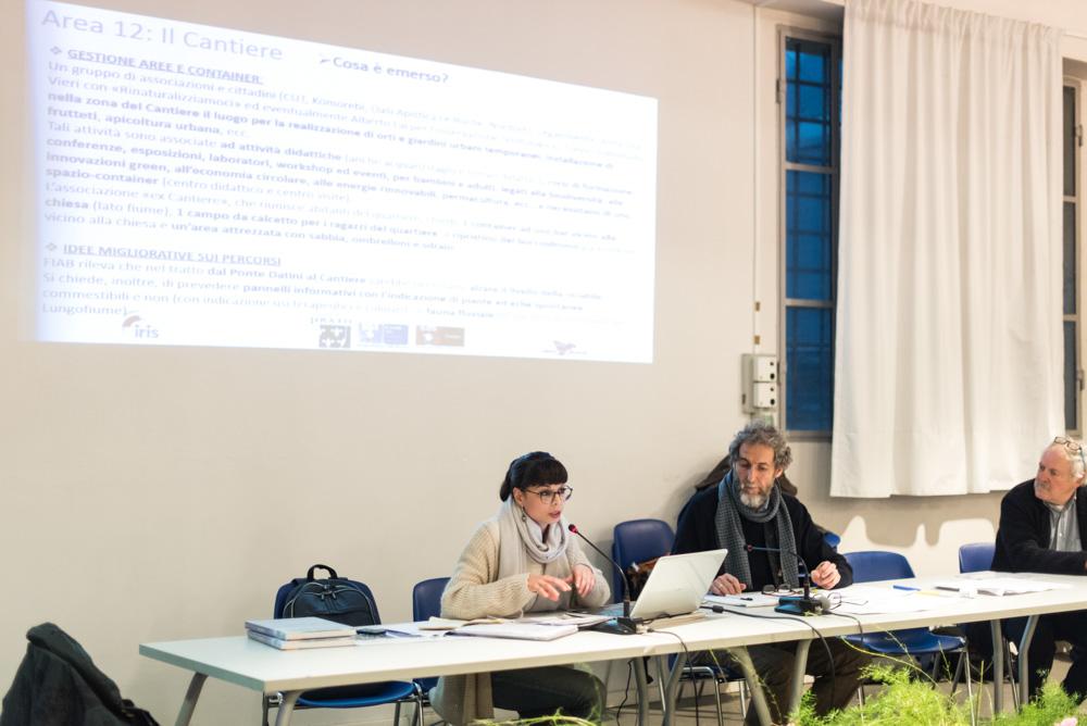 Sara Iacopini (Iris) illustra ai partecipanti le proposte progettuali e le idee migliorative emerse per il tratto Nord del lungofiume