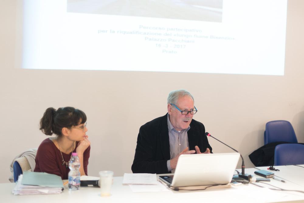 Sergio Signanini (Simurg) illustra le possibili funzioni del futuro parco fluviale in relazione al contesto urbano e naturale